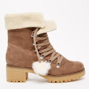 ASOS ROCK FACE Faux Fur Lace Up Ankle Boots